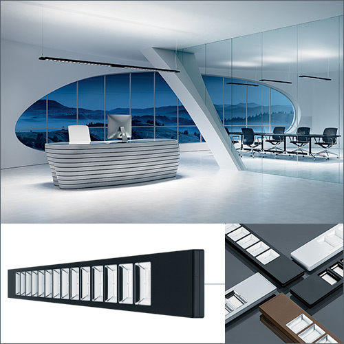 led lighting fixture examples collage with modern office rendering