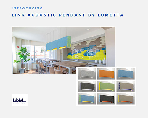 link acoustic pendant by Lumetta lighting new product promo