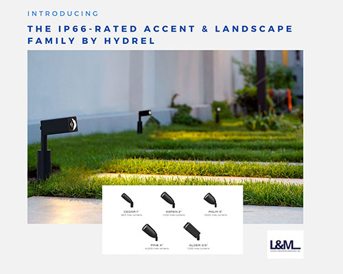 IP66 rated accent landscape lighting family by hydrel of Pittsburgh